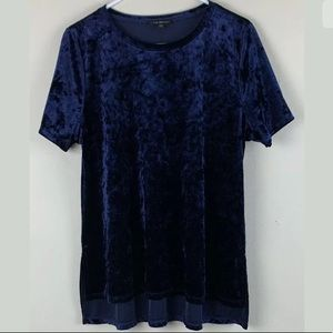 LANE BRYANT Short Sleeve Shirt Top Velvet Hi-Low
